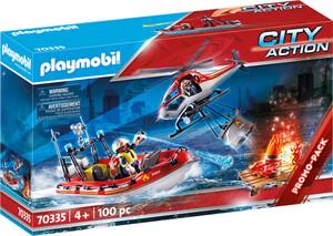 Playmobil Playmobil 70335 Brigade de pompiers avec bateau et helicoptere (janvier 2021) 4008789703354