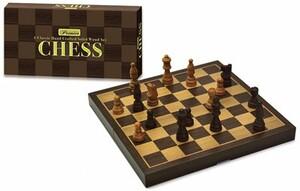 New Entertainment Intex Syndicate Jeu d'échecs en bois franc européen pliant (Premier Chess) 703396010515