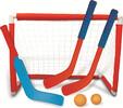 """Ensemble de hockey intérieur, filet 26x19x14"""", 2 bâtons 12"""", 1 bâton de gardien 14"""", balle en plastique et balle en mousse 635016801022"""