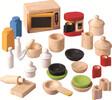 PlanToys Meubles de maison de poupée accessoires de cuisine en bois, ensemble de 28 8854740094063