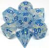 Metallic Dice Games Dés d&d 7pc flash transparents avec chiffres bleus (d4, d6, d8, 2 x d10, d12, d20) 680599383854