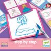Djeco Eduludo dessin step by step Joséphine (fr/en) apprendre à dessiner étape par étape 3070900083202