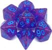 Metallic Dice Games Dés d&d 7pc flash mauve avec avec chiffres bleus (d4, d6, d8, 2 x d10, d12, d20) 680599383885