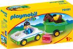 Playmobil Playmobil 70181 1.2.3 Cavalière avec voiture et remorque 4008789701817