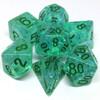 Metallic Dice Games Dés d&d 7pc flash verdeâtres avec chiffres noirs (d4, d6, d8, 2 x d10, d12, d20) 680599383908