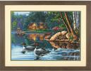 """Dimensions PaintWorks Peinture à numéro Chalet baie traquille et canards 20x14"""" 91474 088677914745"""