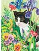 """Dimensions PaintWorks Dessin à numéros chat et fleurs 9x12"""" 91318 088677913182"""