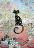 Bug Art Carte fête Chat noir et fleurs sans texte 5033678340388