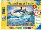 Ravensburger Casse-tête 100 XXL Monde sous-marin coloré et livre de coloriage 4005556136971