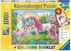 Ravensburger Casse-tête 100 XXL Licorne magique et livre de coloriage 4005556136988