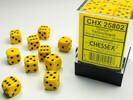Chessex Dés 36d6 12mm opaques jaune avec points noirs 601982021948