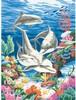 """Dimensions PaintWorks Dessin à numéros dauphins dans la mer 9x12"""" 91112"""