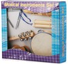 Instruments de musique, tambourine, triangle, jingle stick, 2 castagnettes, grelots, claves, güiro 573598866186