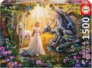 Educa Borras Casse-tête 1500 Dragon, princesse et licorne 8412668176966